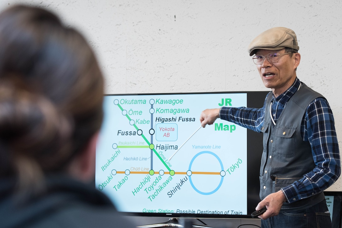Kenny Fukuoka, Survival Japanese Course instructor, teaches expressions and phrases that can be used at train station during survival Japanese course at Yokota Air Base, Japan, Feb. 26, 2019