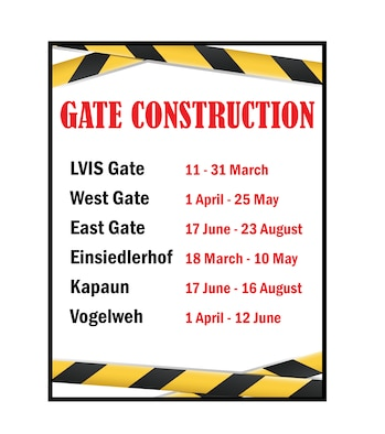 Gate Construction schedule for KMC, March - August 2019.