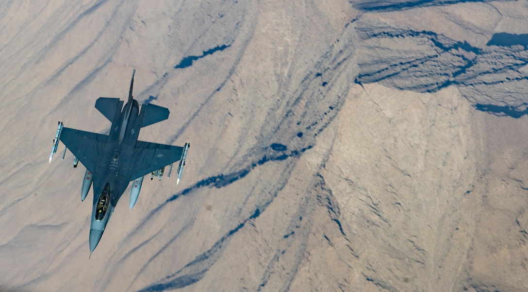 A U.S. Air Force F-16 Fighting Falcon breaks away after being refueling by a KC-135 Stratotanker from the 340th Expeditionary Air Refueling Squadron over Afghanistan, Jan. 21, 2019. The 340 EARS maintain a 24/7 presence in the U.S. Central Command area of responsibility, supporting U.S. and coalition aircraft in various operations in countries such as Iraq, Syria and Afghanistan. (U.S. Air Force Photo by Staff Sgt. Clayton Cupit)