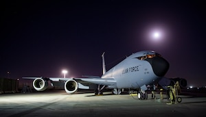 A U.S. Air Force KC-135 Stratotanker assigned to the 340th Expeditionary Air Refueling Squadron sits on the ramp Jan. 22, 2019, at Kandahar Air Field, Afghanistan. The 340th EARS maintains a 24/7 presence in the Operation Freedom's Sentinel area of responsibility, supporting U.S. and coalition aircraft in various operations in countries such as Iraq, Syria and Afghanistan. (U.S. Air Force photo/Staff Sgt. Clayton Cupit)