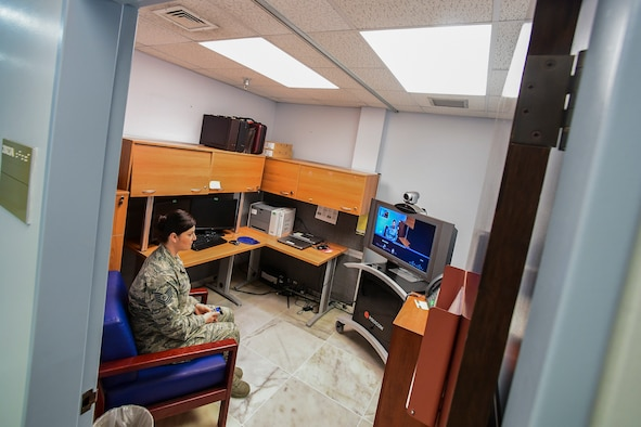 Tech Sgt. Heather Osten, 39th Medical Operations Squadron NCO in charge of mental health, utilizes a video teleconference machine Feb. 21, 2019, at Incirlik Air Base, Turkey.