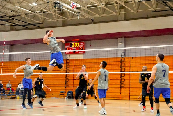 Elite U.S. military volleyball players from around the world compete for dominance at Fort Bragg's Ritz Epps Physical Fitness Center March 6-8, 2019 to determine the best of the best at the 2019 Armed Forces Volleyball Championship. Army, Navy (with Coast Guard) and Air Force teams squared off at the annual AFVC through three days of round-robin competition, to eventually crown the best men and women volleyball players in the military. U.S. Navy photo by Mass Communications Specialist 1st Class John Benson (Released)