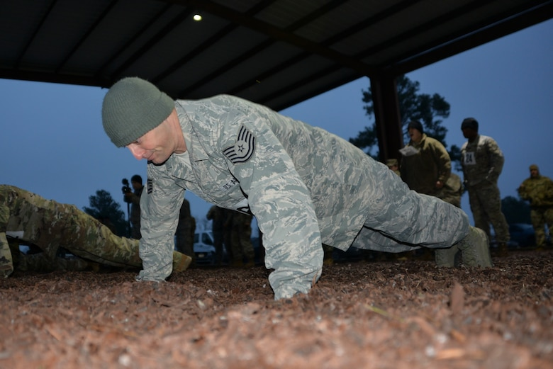 Tech. Sgt. Joshua Porter, 136th Logistics Readiness Squadron vehicle maintainer, performs as many pushups as possible in two minutes during the physical fitness test at the 2019 Best Warrior Competition.