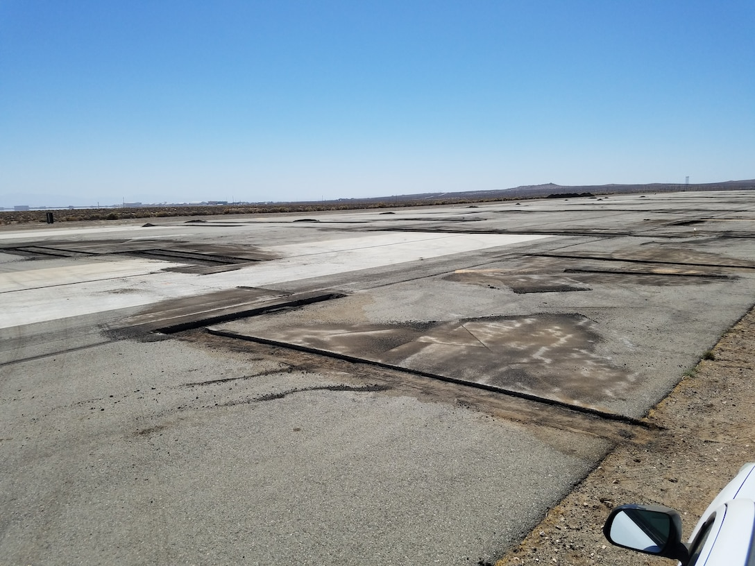 Edwards Air Force Base's North Base runway under repair in September 2018. (Courtesy photo)
