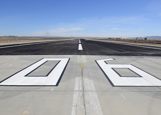 The 412th Civil Engineer Group completed repairs to Edwards Air Force Base's North Base runway in February. (U.S. Air Force photo by Kenji Thuloweit)