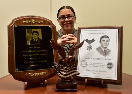 U.S. Air Force Senior Master Sgt. Melissa Matthews, 324th Intelligence Squadron operations superintendent, showcases her three John L. Levitow Awards at Joint Base Pearl Harbor-Hickam, Hawaii, Feb. 26, 2019. Matthews earned her Levitow awards, the highest award for Enlisted Professional Military Education in the Air Force, for being the student who demonstrated the most outstanding leadership and scholastic achievement during her time in Airman Leadership School, Non-Commissioned Officer Academy and Senior Non-Commissioned Officer Academy. (U.S. Air Force photo by Staff Sgt. Eboni Prince)