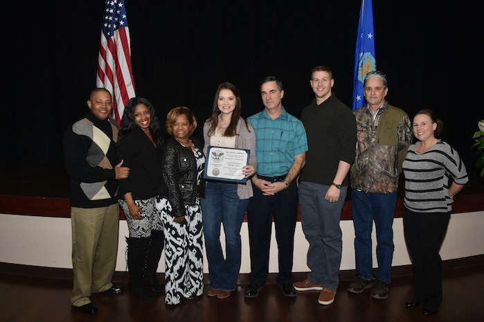 The Contemporary Praise Team from the 97th Air Mobility Wing chapel was awarded the Silver-Level Presidential Volunteer Service Award, March 2, 2019, at Altus Air Force Base, Okla. (U.S. Air Force photo by Senior Airman Cody Dowell)