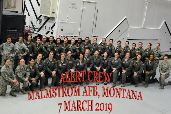 Members of the 2019 all-female alert crew pose for a group photo March 7, 2019, at Malmstrom Air Force Base, Mont.