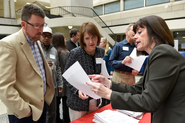 Susan Nicholson, U.S. Army Corps of Engineers Nashville District Small Business chief, provides contracting forecast information with participants of the 9th Annual Small Business Industry Day March 6, 2019 at Tennessee State University's Avon Williams Campus in Nashville, Tenn. (USACE photo by Lee Roberts)