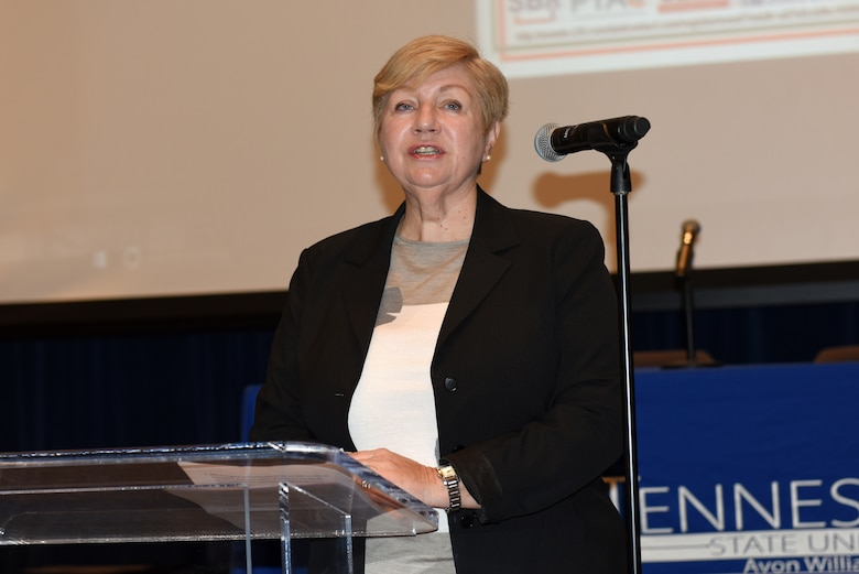 Ann Sullivan of the Madison Service Group gives the keynote address about the challenges women face in federal contracting, noting how the Women's Small Business Program has underperformed. She spoke at the 9th Annual Small Business Industry Day March 6, 2019 at Tennessee State University's Avon Williams Campus in Nashville, Tenn. (USACE photo by Lee Roberts)