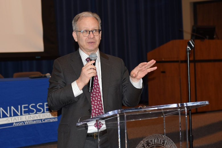 Nashville Mayor David Briley gives remarks about the city's Equal Business Opportunity Program, which levels the playing field for women owned businesses, during the 9th Annual Small Business Industry Day March 6, 2019 at Tennessee State University's Avon Williams Campus in Nashville, Tenn. (USACE photo by Lee Roberts)
