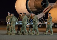 A U.S. Army carry team transfers the remains of Army Spc. Jackson D. Johnson of Hillsboro, Mo., March 7, 2019, at Dover Air Force Base, Del. Johnson was assigned to 657th Transportation Company, 419th Transportation Battalion, 103rd Sustainment Command, Mount Vernon, Ill. (U.S. Air Force photo by Staff Sgt. Jared Duhon)