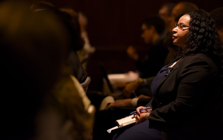 Halimah Najieb-Locke, House Armed Services Committee professional staff member, listens to small businesses pitch solutions to the Air Force during the inaugural Air Force Pitch Day in New York, March 7, 2019. The Air Force is partnering with small businesses to help further national security in air, space and cyberspace. (U.S. Air Force photo by Tech Sgt. Anthony Nelson Jr.)