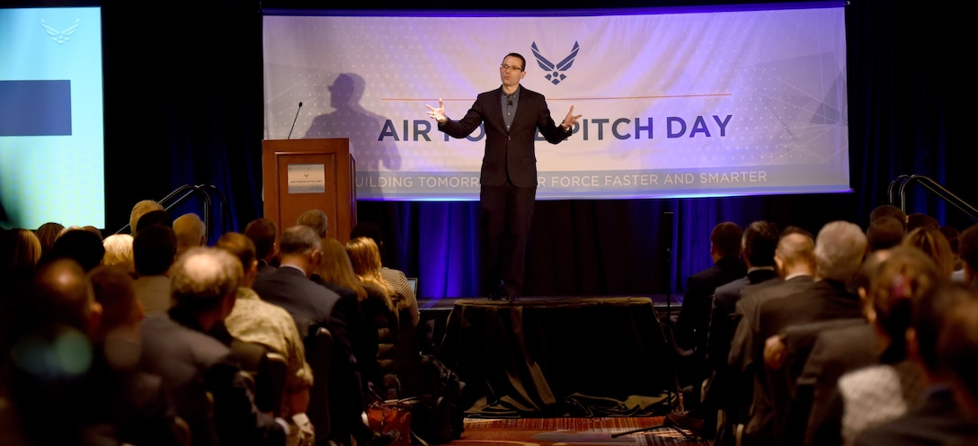 Dr. Will Roper, assistant secretary of the Air Force for acquisition, technology and logistics, speaks to a crowd of small businesses, venture capitalists and Airmen during the inaugural Air Force Pitch Day in New York, March 7, 2019. Air Force Pitch Day is designed as a fast-track program to put companies on one-page contracts and same-day awards with the swipe of a government credit card. The Air Force is partnering with small businesses to help further national security in air, space and cyberspace. (U.S. Air Force photo by Tech Sgt. Anthony Nelson Jr.)