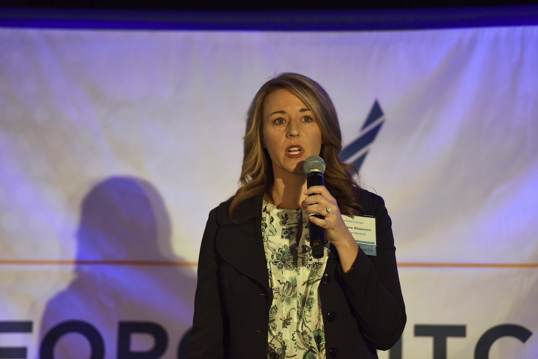 Elyse Blazevich, Securisyn Medical chief operating officer, pitches her product to a crowd of small businesses, venture capitalists and Airmen during the inaugural Air Force Pitch Day in New York, March 7, 2019. Blazevich was awarded a same-day contract with the Air Force. Air Force Pitch Day is designed as a fast-track program to put companies on one-page contracts and same-day awards with the swipe of a government credit card. The Air Force is partnering with small businesses to help further national security in air, space and cyberspace. (U.S. Air Force photo by Tech Sgt. Anthony Nelson Jr.)