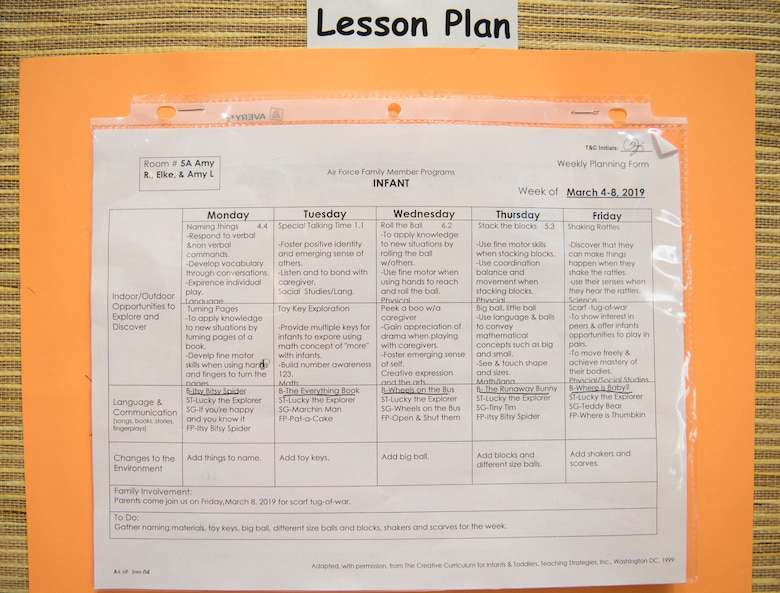 A lesson plan is displayed outside a classroom at the 20th Force Support Squadron Child Development Center (CDC), March 8, 2019.