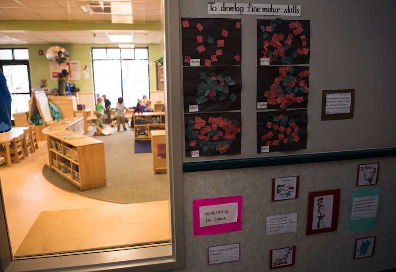 Children's artwork is displayed outside a classroom at the 20th Force Support Squadron Child Development Center (CDC), March 8, 2019.
