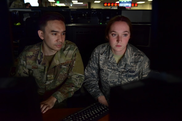 U.S. Air Force Airmen assigned to the 8th Intelligence Squadron conduct analysis at Joint Base Pearl Harbor-Hickam, Hawaii, Feb. 22, 2019. ISR Effects is an initiative that helps connect intelligence analysts to the outcome of their efforts. (U.S. Air Force photo by Staff Sgt. Eboni Prince)