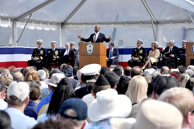South Carolina Sen. Tim Scott delivers his remarks during the commissioning ceremony of the Navy's newest littoral combat ship, USS Charleston (LCS 18).