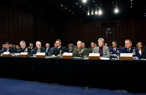 Secretary of the Air Force Heather Wilson provides testimony to the Senate Armed Services Committee in Washington, D.C., March 7, 2019. The committee examined privatized military housing for service members and their families. (U.S. Air Force Photo by Wayne Clark)