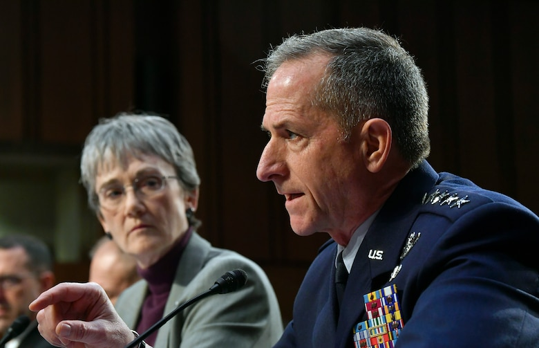 Air Force Chief of Staff Gen. David L. Goldfein and Secretary of the Air Force Heather Wilson provide testimony to the Senate Armed Services Committee in Washington, D.C., March 7, 2019. The committee examined privatized military housing for service members and their families. (U.S. Air Force Photo by Wayne Clark)