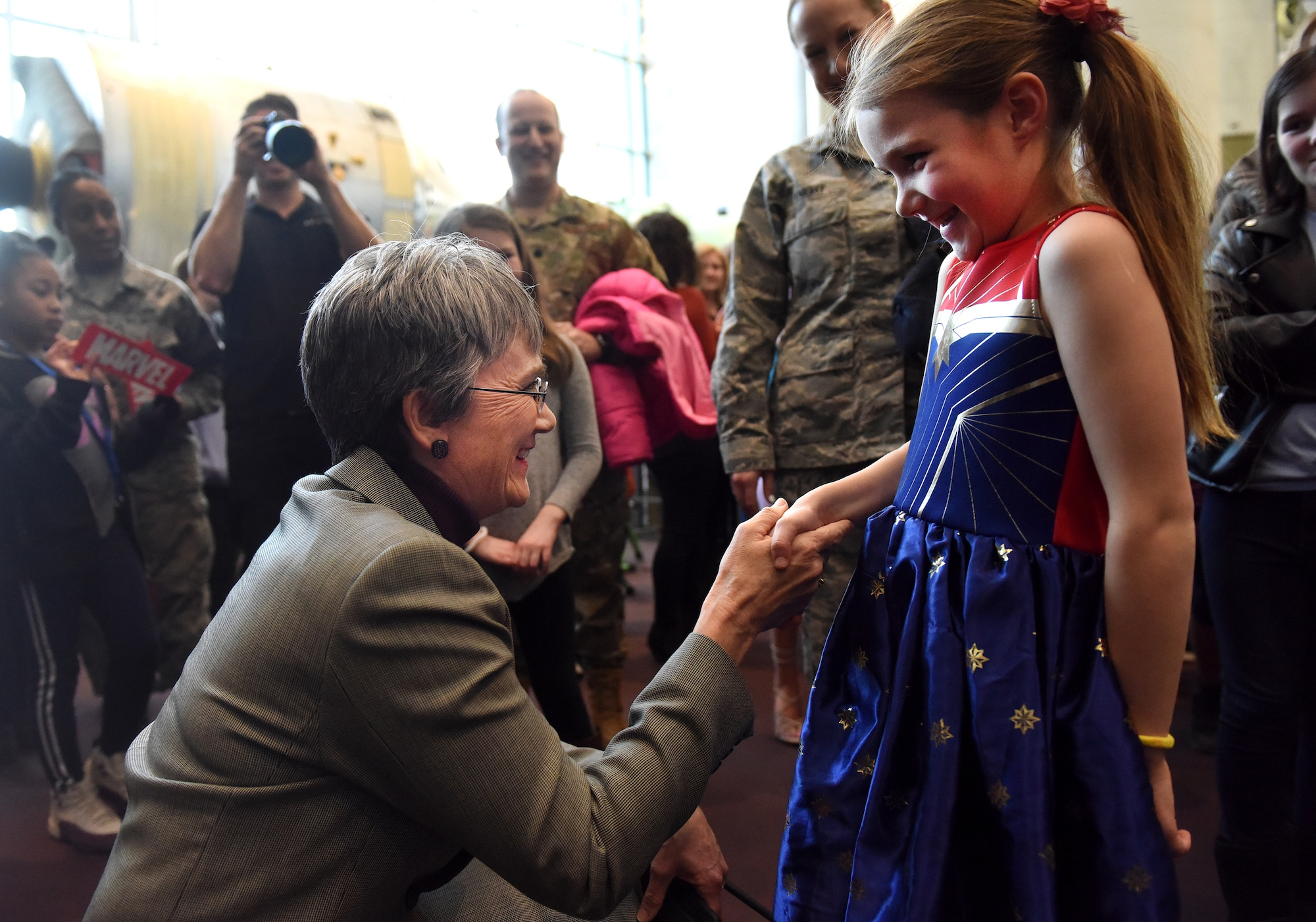 """Secretary of the Air Force Heather Wilson tours the STEM demonstration prior to a screening of the movie """"Captain Marvel"""" in Washington, D.C., March 7, 2019. The demonstration was held to inspire children to serve in the Air Force or STEM-related careers. (U.S. Air Force photo by Staff Sgt. Rusty Frank)"""