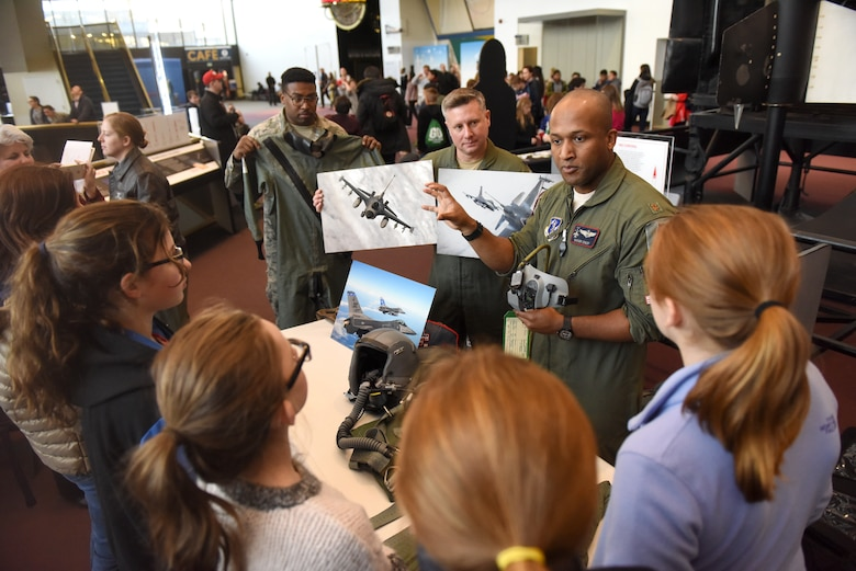 "People attend the STEM demonstration prior to a screening of the movie ""Captain Marvel"" in Washington, D.C., March 7, 2019. The demonstration was held to inspire children to serve in the Air Force or STEM-related careers. (U.S. Air Force photo by Staff Sgt. Rusty Frank)"