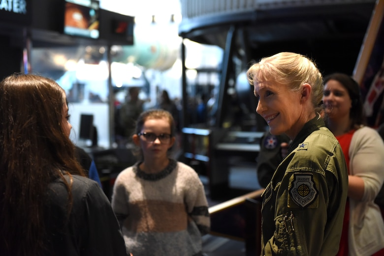 "Brig. Gen. Jeannie Leavitt, Air Force Recruiting Services commander, tours the STEM demonstration prior to a screening of the movie ""Captain Marvel"" in Washington, D.C., March 7, 2019. The demonstration was held to inspire children to serve in the Air Force or STEM-related careers. (U.S. Air Force photo by Staff Sgt. Rusty Frank)"