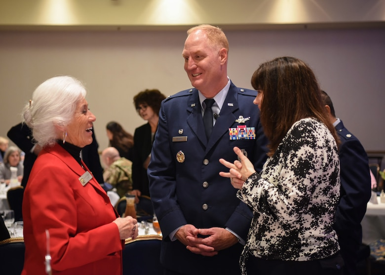 U.S. Air Force Col. Michael Hough, 30th Space Wing commander, and his wife Leslie speak with Alice Patino, Santa Maria mayor, during the Joint Chambers of Commerce luncheon March 7, 2019, at Vandenberg Air Force Base, Calif. The luncheon was established 10 years ago as a way to continually update local communities with the mission, priorities and upcoming projects on Vandenberg AFB. (U.S. Air Force photo by Airman 1st Class Aubree Milks)