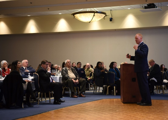 U.S. Air Force Col. Michael Hough, 30th Space Wing commander, speaks during the Joint Chamber of Commerce luncheon March 7, 2019, at Vandenberg Air Force Base, Calif. Base leadership, civic leaders, business owners and community members came together to speak about events and projects that will occur in 2019. (U.S. Air Force photo by Airman 1st Class Aubree Milks)