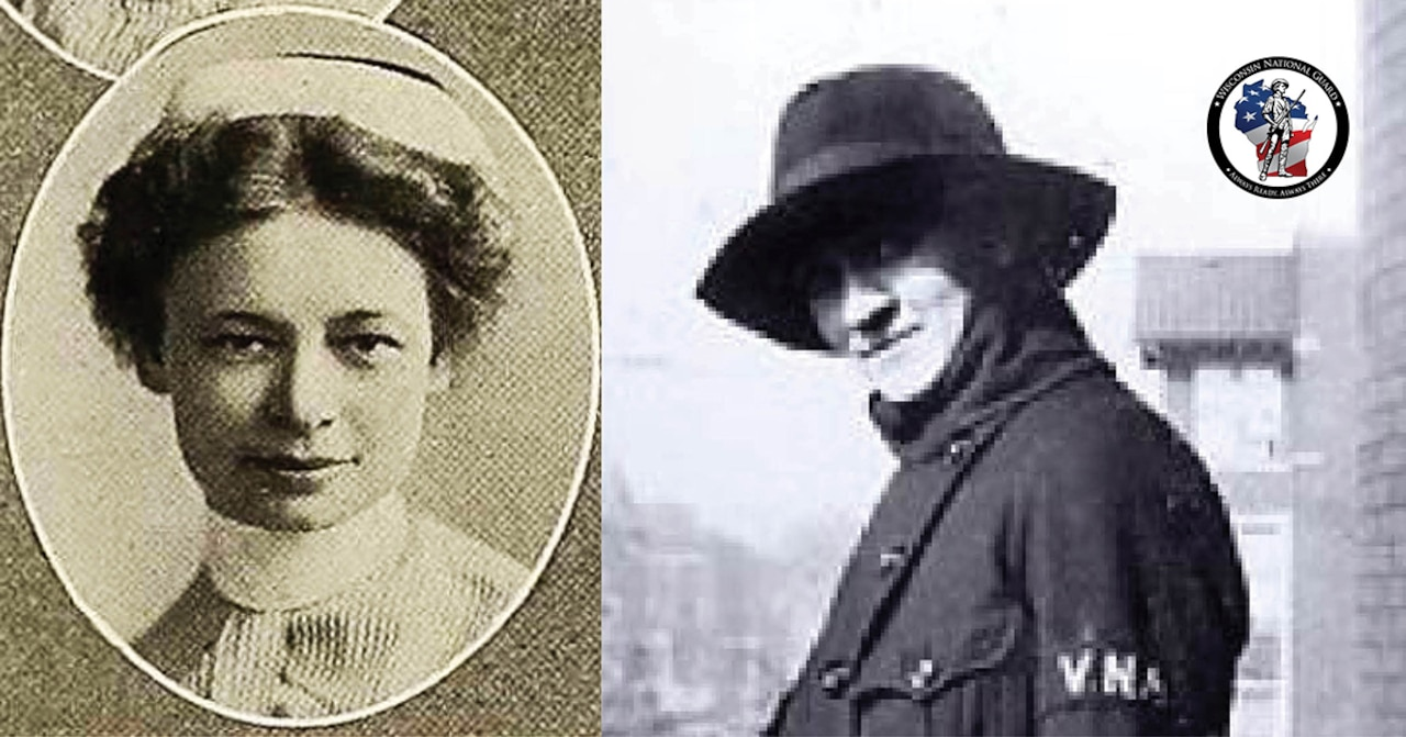 A composite image shows two black and white photos of women and a Wisconsin National Guard logo.