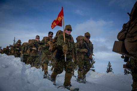 U.S. Marines with Headquarters and Service Company, 2nd Battalion, 6th Marine Regiment, 2nd Marine Division, participate a conditioning hike during Mountain Training Exercise (MTX) 2-19 at Marine Corps Mountain Warfare Training Center, Bridgeport, Calif., Feb. 27, 2019. The Marines participated in a combat readiness evaluation in preparation for an upcoming deployment. (U.S. Marine Corps photo by Lance Cpl. Tyler M. Solak)