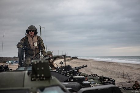 U.S. Marines with 2nd Assault Amphibian Battalion, 2nd Marine Division (2dMarDiv), prepare for a ship-to-shore movement in their Assault Amphibious Vehicles (AAV-P7/A1) on Onslow Beach, N.C., March 3, 2019. The Marines rehearsed moving from ship-to-shore in the AAV-P7/A1 to effectively transport personnel and maintain combat readiness in the event of an amphibious assault operation. (U.S. Marine Corps photo by Cpl. Santino D. Martinez)