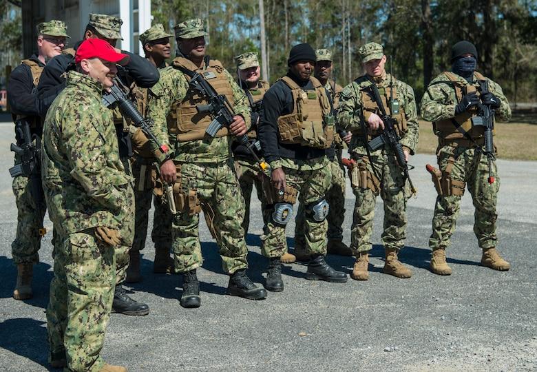 Sailors from the Coastal Riverine Squadron 10 Bravo 2nd Platoon, stand in formation during a deployment exercise March 6, 2019, at Joint Base Charleston, S.C. -- Naval Weapons Station.