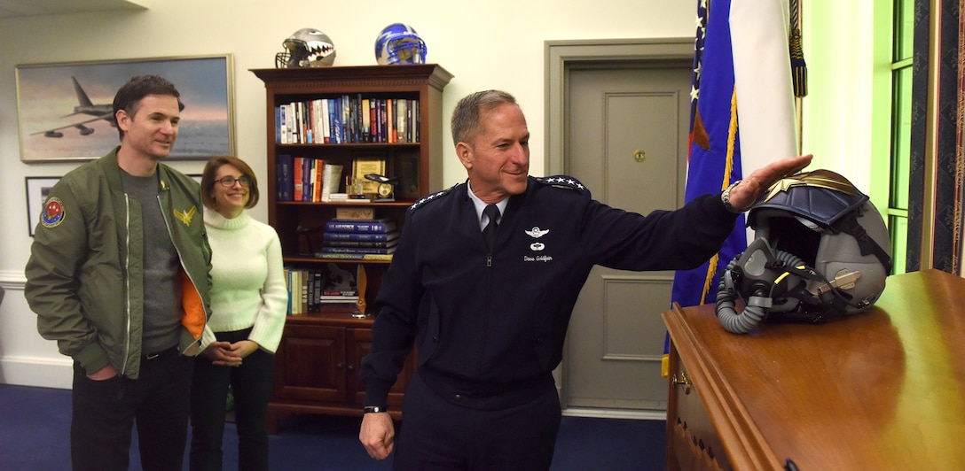"Air Force Chief of Staff Gen. David L. Goldfein holds an office call with ""Captain Marvel"" co-directors and producers in the Pentagon, Arlington, Va., March 7, 2019, prior to the screening of the film. The screening was held to highlight Air Force collaboration with Disney and the inspiration behind the main character's warrior ethos: ""higher, further, faster."" (U.S. Air Force photo by Staff Sgt. Rusty Frank)"