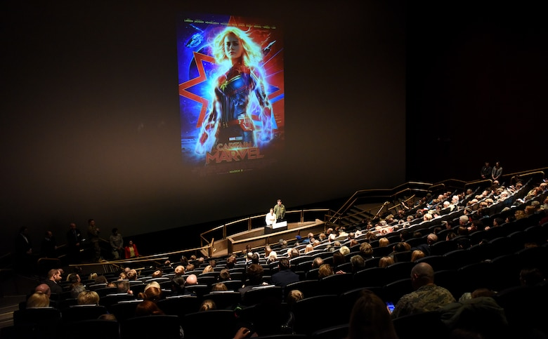 "Anna Boden and Ryan Flack, ""Captain Marvel"" co-directors, give remarks during a screening of ""Captain Marvel"" in Washington, D.C., March 7, 2019. The screening was held to highlight Air Force collaboration with Disney and the inspiration behind the main character's warrior ethos: ""higher, further, faster."" (U.S. Air Force photo by Staff Sgt. Rusty Frank)"