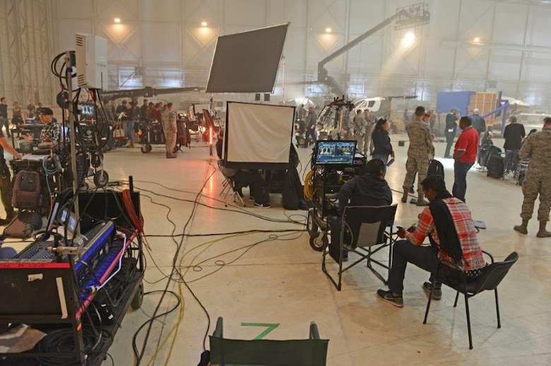 "Behind the scene of the set of ""Captain Marvel"" during filming at Edwards Air Force Base, Calif. April 20, 2018. To ensure an accurate depiction of military service, filmmakers and actors immersed with Airmen from across the Air Force.  (U.S. Air Force photo by Kenji Thuloweit)"