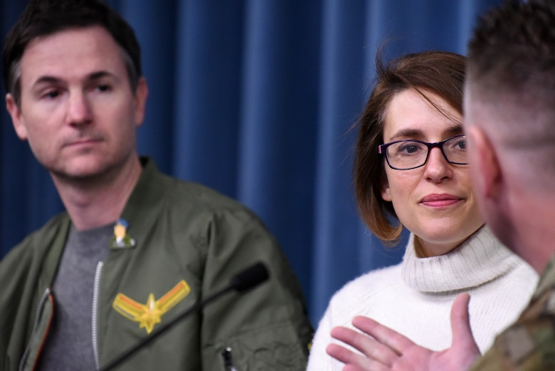 "Anna Boden and Ryan Flack, ""Captain Marvel"" co-directors, answer questions during a round table at the Pentagon, Arlington, Va., March 7, 2019. The media round table was one of many events held as an outreach event targeting Air Force families, congressional representatives and select organizations. (U.S. Air Force photo by Staff Sgt. Rusty Frank)"