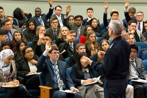 Air Force Gen. Paul Selva, vice chairman of the Joint Chiefs of Staff, speaks to students with the U.S. Senate Youth Program at the Pentagon.