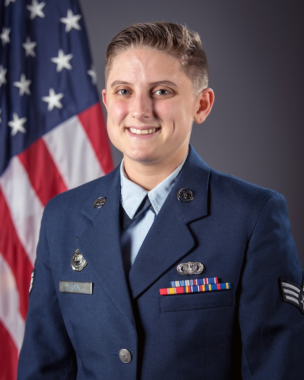 "Senior Airman Brianna Cook is the Kentucky Air National Guard's 2019 Airman of the Year in the Airman category. During a deployment to Southwest Asia last year in support of Operation Inherent Resolve, Cook was part of a security team responsible for protecting 67 aircraft and $10 billion in assets. She was hand-picked to operate a Tactical Automated Security System at the largest base in theater, earning an ""excellent"" rating for performance. (U.S. Air National Guard photo by Master Sgt. Philip Speck)"