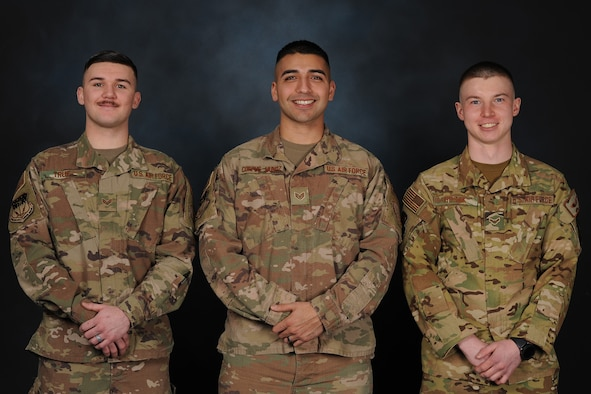 Pictured from left are Senior Airmen Joshua True, 341st Security Support Squadron Tactical Response Force assaulter, and Richard Corpus-Munoz, 341st SSPTS TRF sharpshooter, and Airman 1st Class Ethan Husak, 40th Helicopter Squadron flight engineer.