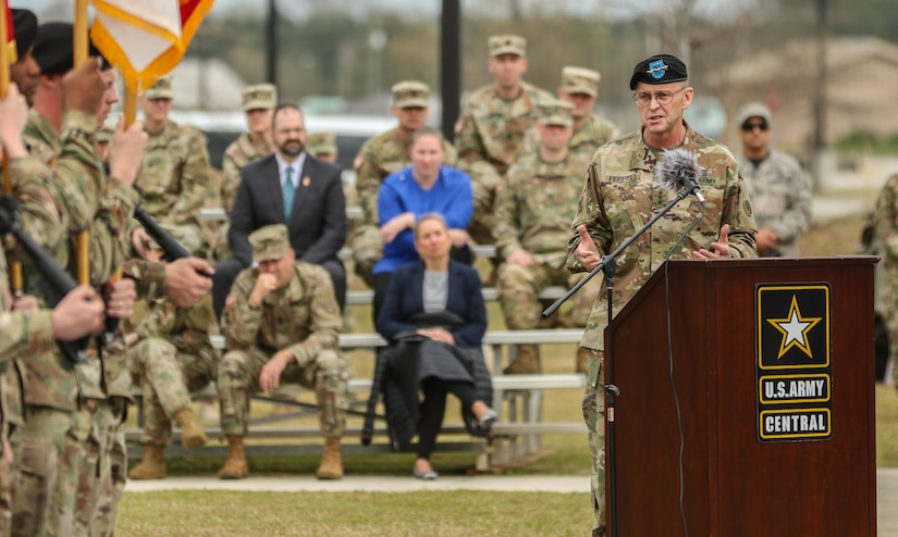 Lt. Gen. Terry Ferrell, commanding general of U.S. Army Central, provides his incoming speech to the attendees of USARCENT's change of command ceremony at Lucky Park, outside of the command's headquarters, Shaw Air Force Base S.C., Mar. 8, 2019. Lt. Gen. Michael X. Garrett relinquished command and control of USARCENT to Ferrell.