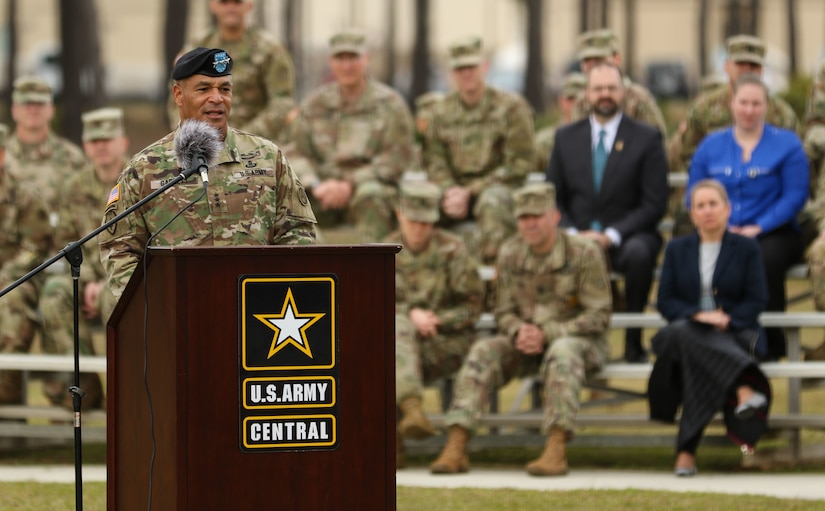 Lt. Gen. Michael X. Garrett, former commander of U.S. Army Central, provides his out-going speech to the attendees of USARCENT's change of command ceremony at Lucky Park, outside of the command's headquarters, Shaw Air Force Base S.C., Mar. 8, 2019. Garrett relinquished command and control of USARCENT to Lt. Gen. Terry Ferrell.
