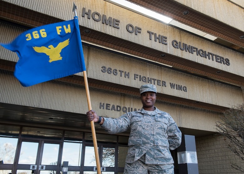 Master Sgt. Yillian Barriere, first sergeant for the 366th Fighter Wing A-Staff, special staff, 366th Comptroller Squadron and 366th Contracting Squadron