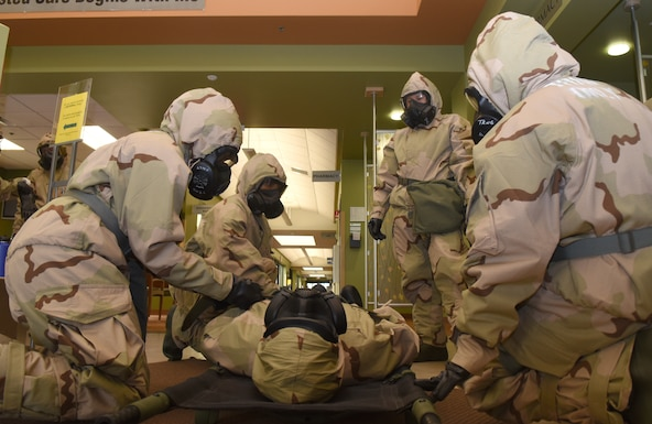 The 9th Medical Group trained for potential deployment conditions with several mock exercises and simulated medical emergencies on base, March 6, 2019.