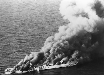 On April 18, 1988, in Operation Praying Mantis, Navy ships and Navy and Marine aircraft strike Iranian oil platforms, sink the Iranian frigate Sahand and smaller boats, and damage the frigate Sabalan in retaliation for the mining of USS Samuel B. Roberts (FFG-58) four days earlier. December 17, 1970