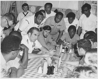 On December 17, 1970, in Z-Gram 66, CNO Admiral Elmo Zumwalt directs immediate action to combat 'significant discrimination in the Navy.' He ends the Z-gram saying, 'There is no black Navy, no white Navy-just one Navy-the United States Navy.' Z-Gram 66 results in many minority firsts.