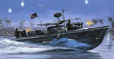 On March 11, 1965, During the Vietnam War, Task Force 115 stands up. A coastal surveillance force, it conducts operations under the code name Market Time using 3.5 foot draft 'Swift Boats$rsquo; capable of 28 knots. Their objective is to interdict enemy resupply efforts.