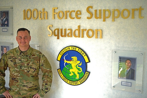 U.S. Air Force Master Sgt. Jeremy Rector, 100th Force Support Squadron first sergeant, poses for a photo at RAF Mildenhall, England, March 5, 2019. Rector recently joined Team Mildenhall after completing duties at Osan Air Base, South Korea as the 51st Operations Group first sergeant. (U.S. Air Force photo by Airman 1st Class Brandon Esau)