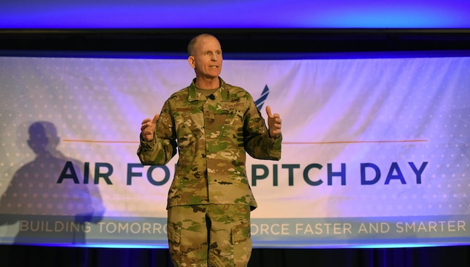Air Force Vice Chief of Staff Gen. Stephen W. Wilson speaks to a crowd of small businesses, venture capitalists and Airmen during the inaugural Air Force Pitch Day inNew York, March 7, 2019. Air Force Pitch Day is designed as a fast-track program to put companies on one-page contracts and same-day awards with the swipe of a government credit card. The Air Force is partnering with small businesses to help further national security in air, space and cyberspace. (U.S. Air Force photo by Tech Sgt. Anthony Nelson Jr.)